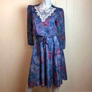 Vintage 80s/90s Multicolored Paisley Dress